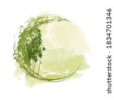 Green bamboo frame in the form of a circle. Silhouettes of bamboo trees on an abstract watercolor background in Asian style. Image for labels and decorations of items in an eco-friendly style.