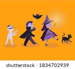 halloween vector on orange... | Shutterstock .eps vector #1834702939