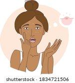 the teenage girl noticed her... | Shutterstock .eps vector #1834721506