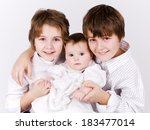 brother and sister with newborn ... | Shutterstock . vector #183477014