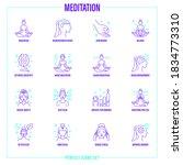 meditation set  girl in lotus...   Shutterstock .eps vector #1834773310