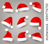 christmas santa claus hats with ... | Shutterstock .eps vector #1834776733