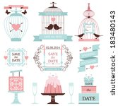 vintage collection of vector... | Shutterstock .eps vector #183480143