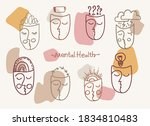abstract faces on a pastel... | Shutterstock .eps vector #1834810483