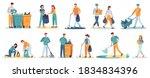 people clean up garbage.... | Shutterstock .eps vector #1834834396