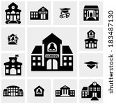 School Building  Vector Icons...