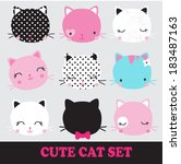 Stock vector set of cute cats 183487163