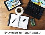 open notebook  mobile  phone  ... | Shutterstock . vector #183488060