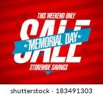 memorial day sale design... | Shutterstock .eps vector #183491303