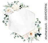 ivory beige rose  white peony ... | Shutterstock .eps vector #1834920946