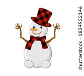 A Snowman With A Hat And A...