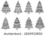set of christmas trees.... | Shutterstock .eps vector #1834923850