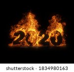 Year 2020 On Fire. Flames And...