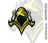 Vector Illustration of a Yellow robed Assassin for a sports team or group