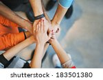 multiethnic group of young... | Shutterstock . vector #183501380