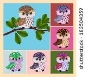 owl set | Shutterstock .eps vector #183504359