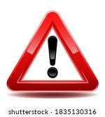 Attention Sign Red Triangle 3d...