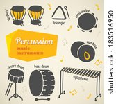 Vector collection of percussion music instruments
