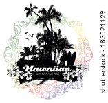 hawaiian summer scene | Shutterstock .eps vector #183521129