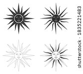 vector monochrome icon set with ...   Shutterstock .eps vector #1835221483