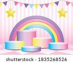 cute pastel gradient podium... | Shutterstock .eps vector #1835268526