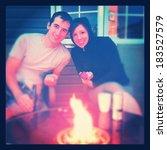 couple in love having fire  ... | Shutterstock . vector #183527579