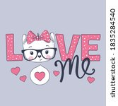 Love Me Slogan Text With Little ...
