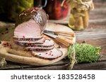 Fresh piece of smoked ham - stock photo