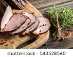 Delicious smoked homemade ham cooked - stock photo