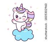 cute unicorn vector on cloud... | Shutterstock .eps vector #1835302960