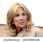 Small photo of Fort Riley, Kansas, USA, April, 6th 2016 Dr. Jill Biden wife of Vice President Joe Biden visits The Fort Riley Middle School