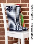pair of colorful gumboots on