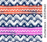 Vector seamless ethnic pattern hand painted with bold zigzag brushstrokes, stripes  and small dots in bright colors: pink, orange, white and navy blue - stock vector