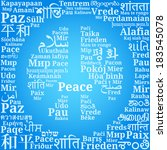 "Peace sign consisting of the phrases ""Peace"" in different languages of the world (En, Ru, De, Es, Fr, It, Pl, Uk, Nl, Ro, Hu, El, Pt, Cs, Da, Fi, Hr, No, Is, Tr, Ka, Ar, Fa, He, Hi, Th, Zh, Ko, Ja.."