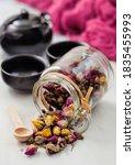 Glass Jar Of Rose Buds Mix Tea...