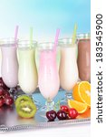 milk shakes with fruits on... | Shutterstock . vector #183545900