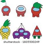 vector fruity cartoon among us... | Shutterstock .eps vector #1835500249