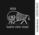 funny sketch bull. lunar... | Shutterstock .eps vector #1835513623