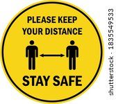 please keep your distance sign. ... | Shutterstock .eps vector #1835549533