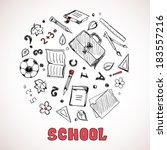 sketch of school elements. hand ... | Shutterstock . vector #183557216