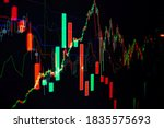 Small photo of Candle stick graph chart of stock market investment trading, monotone color, Bullish point, Bearish point. trend of graph.