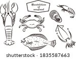 brush writing style seafood... | Shutterstock .eps vector #1835587663