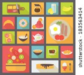 icons set for food  breakfast ... | Shutterstock .eps vector #183563414