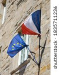 French And European Flags On An ...