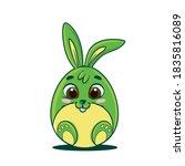 easter egg shaped bunny cartoon | Shutterstock .eps vector #1835816089