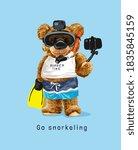 snorkeling slogan with bear... | Shutterstock .eps vector #1835845159