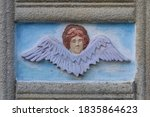 Religious stucco molding in the church. Public open domain. Background