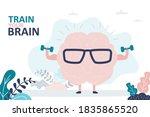 train your brain. pink brain...   Shutterstock .eps vector #1835865520