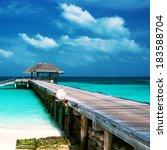 beautiful beach with water...   Shutterstock . vector #183588704