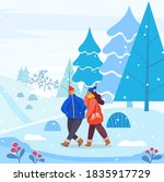 man and woman in warm clothes... | Shutterstock .eps vector #1835917729